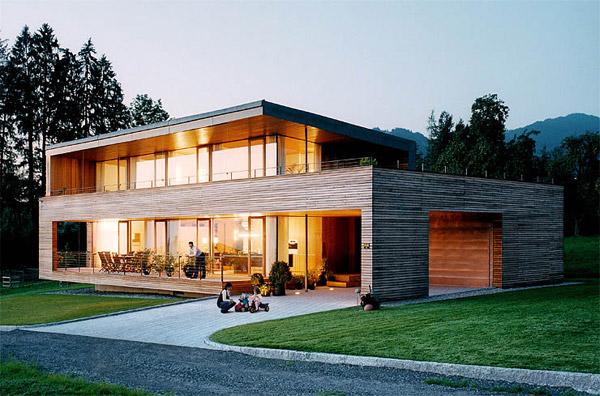 moderna fasada hiše - les in steklo